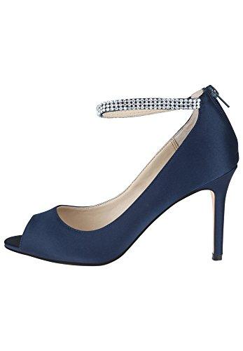 Scarpe Nina Damen Tacco Alto Peeptoe Remini Gel-polsterung New Navy-ls