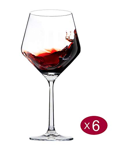 Red Wine Glasses,Hand Blown,Lead Free Titanium Crystal Glass,23-Ounces,Burgundy,Large Bowl,Stem,Set of 6