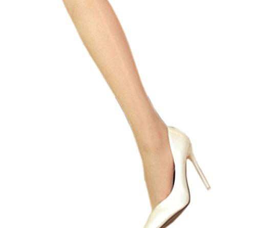 Kffyeye Ultra Shimmery Plus Footed Sheer Pantyhose, Shiny Silk Stockings 12D Tights0803(1 Beige)