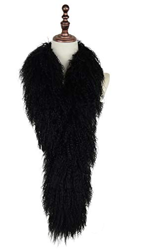 Real Genuine Tibetan/Mongolian Lamb Fur Scarf (Black)