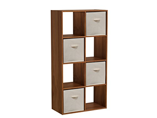 Homestar 8 Cube with Fabric Bins, Wheat Alder by Home Star