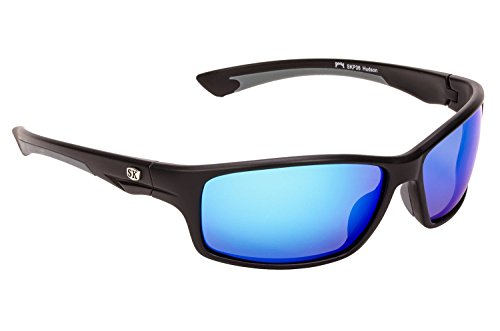39b45ba30f Strike King Plus Hudson Polarized Sunglasses with Matte Black Gray Frames  and Revo Blue Mirror Gray Lenses (B00N4OD25O)