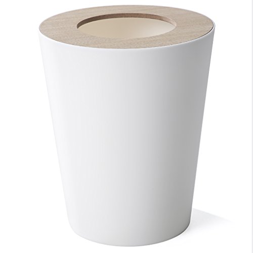 Trash Can Round, 9liter/2.5gallon Garbage Can With Wood grain Lid, Wastebasket Toilet Trash Bin Garbage Container Bin For Bathrooms, Kitchens, Living Room (Color : White) (Half Round Wastebasket Lid)