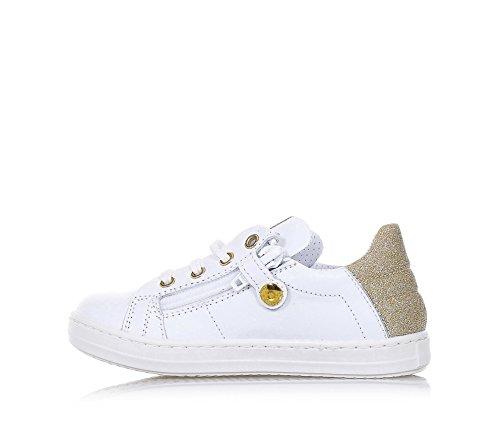WALKEY - Weißer Schuh mit Schnürsenkeln aus Leder, hinten ein goldener Einsatz aus Stoff mit Glitzern, Mädchen