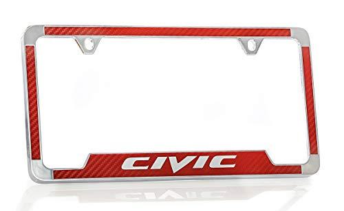Civic Carbon - Honda Civic Simulated Carbon Fiber License Plate Frame Holder (Red)