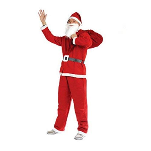 Men's Deluxe Santa Claus Suit 5pc, Christmas Adult Santa Claus Costume -