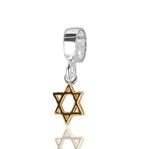 The Kiss Star of David The Religion of Judaism 925 Sterling Silver Bead Fits European Charm Bracelet (Star of David Golden ()