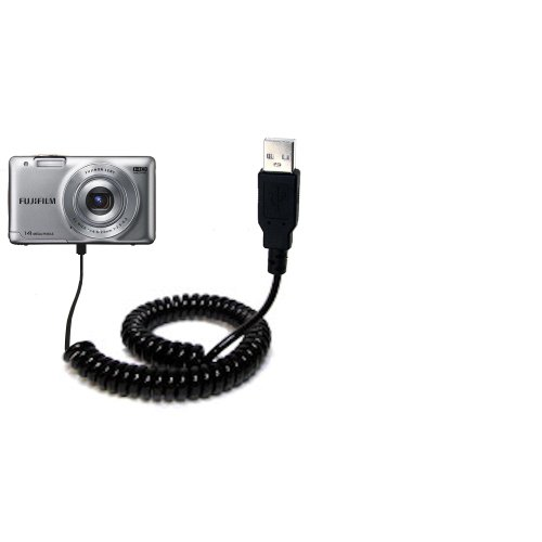 Fujifilm Finepix JX 500 520 550 580 590 700 710 compatible Unique Gomadic Coiled USB Charge and Data Sync cable - Charging and HotSync functions with one cable. Built with TipExchange (550 Film)