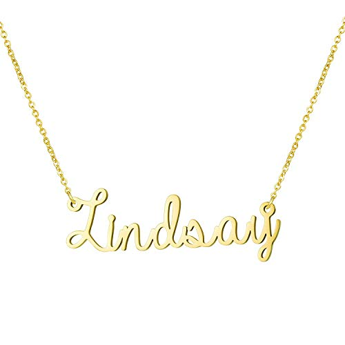 Yiyang Wedding Necklaces Fashion Name Necklace 18K Gold Plated Stainless Steel Jewelry Birthday Gift for Girls Lindsay