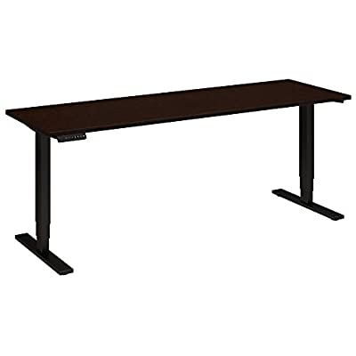 Move 80 Series by Bush Business Furniture 72W x 24D Height Adjustable Standing Desk in Mocha Cherry with Black Base
