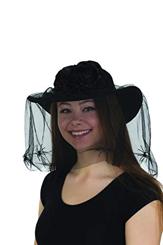 Black Widow Hat with Veil & Spiders Flowers Women's Halloween Costume Accessory]()