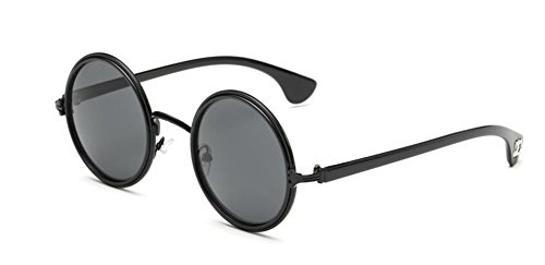 C du inspirées vintage Lennon Feuille en retro soleil style lunettes rond Grise métallique cercle de polarisées BZWSwFq