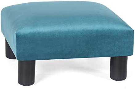 Editors' Choice: Decent Home Ottoman Footrest Stool Small Velvet Modern Square Seat Chair Footstool Blue