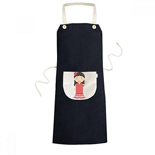 cold master DIY lab Flower Red Dress Spain Cartoon Cooking Kitchen Black Bib Aprons Pocket Women Men Chef Gifts by cold master DIY lab