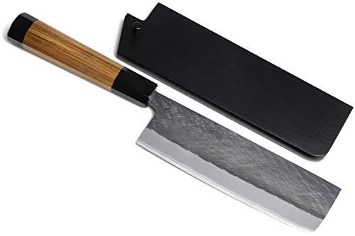 Yoshihiro Kurouchi Black-Forged Blue Steel Stainless Clad Nakiri Japanese Vegetable Knife (6.5'' (165mm) & Saya) by Yoshihiro (Image #9)
