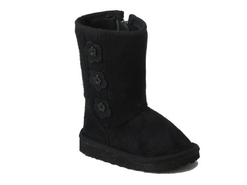 Price comparison product image Olla Little Girls Shearling Button Boots Black 5