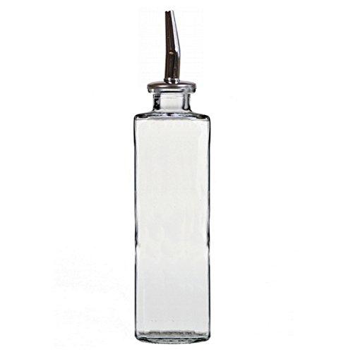 Metal Dressing (Colorful Olive Oil Dispenser, Oil and Vinegar Dressing, G414M Clear Color Decorative Glass Oil Bottles, Olive Oil Pourer, Cooking Oil Dispenser. Metal Spout and Cork included)