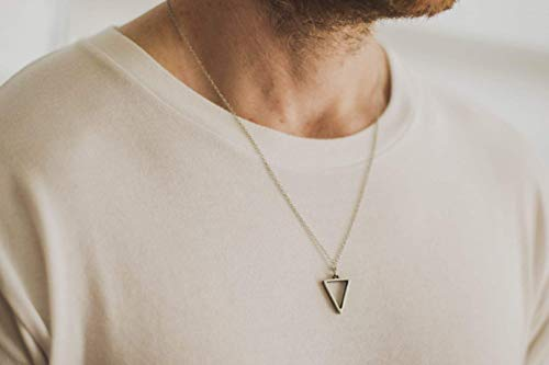 (Triangle necklace for men, groomsmen gift, men's necklace with a silver triangle pendant, silver chain, gift for him, geometric necklace)