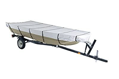 GOODSMANN Jon Boat Covers, Silvery Gray, Water Resistant, Weather Protection Boat Cover, Fits 12ft, 14ft, 16ft, 18ft Boats