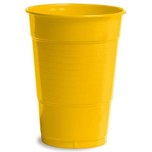 16 oz Yellow Plastic Cups, 20 Pack