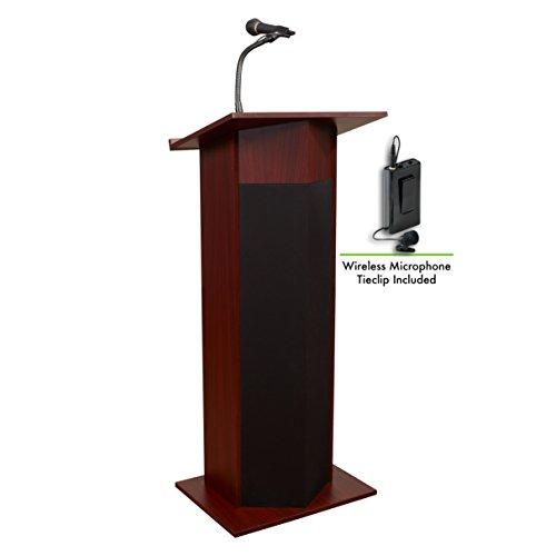 (Oklahoma Sound 111PLS-MY/LWM-6 Power Plus Lectern & Tie Clip Mic, Mahogany )