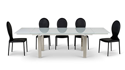 Zuri Furniture Montez White Glass Extendable Modern Dining Table - Seats (Extendable Glass Top)