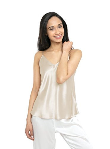 MYK 21 Momme 100% Pure Silk Camisole with Adjustable Strap for Women, 100% Mulberry Silk, Lightweight and Breathable (Cotton Satin Camisole)