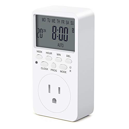 Outlet Timer, Digital Programmable Timer, CANAGROW 7 Day Weekly Heavy Duty Smart Indoor Timer for Electric Outlets, Wall Timer Switch Grounded (Digital Heavy Duty Timer Grounded)