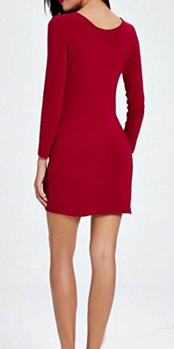 Jaycargogo Manches Longues Profond Col V Femmes Robe Moulante Pleine De Crayon À Glissière Rouge
