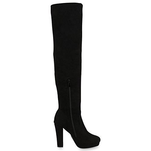 Damen Stiefel Overknees 70s Look Boots Veloursleder-Optik Schuhe Blockabsatz High Heels Profilsohle Langschaftstiefel Jennika Schwarz Noir