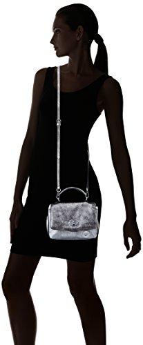 Lola Casademunt Candace - Borse Baguette Donna, Plateado, 6x18x21 cm (W x H L)