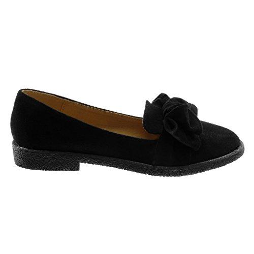 Angkorly Damen Schuhe Mokassin - Slip-On - Knoten - Glänzende Blockabsatz 2.5 cm Schwarz
