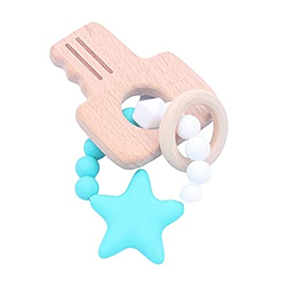 Difcuy Wooden Butterfly Bike Shaped Rattle Silicone Beads Bracelet Baby Teething Toy: Beauty