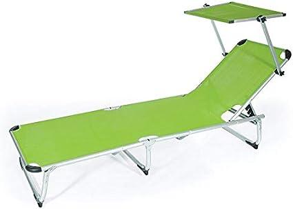 Tot/ò Piccinni Lettino KAMP Prendisole Pieghevole Leggero in Alluminio con TETTUCCIO qualit/à Top Regolabile 4 Posizioni Verde Lime