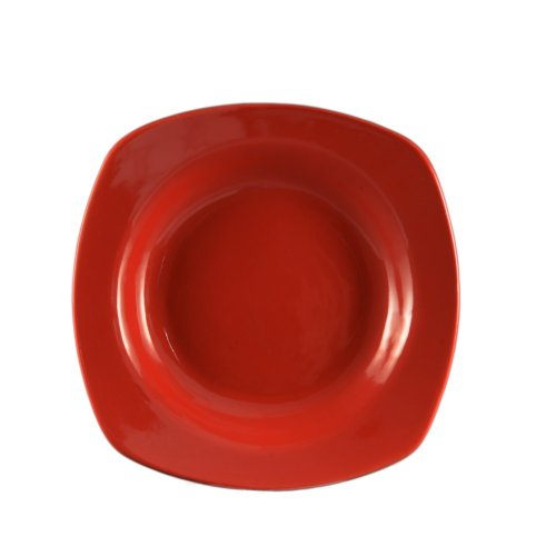 CAC China P-88RED 22-Ounce Stoneware Square Pasta Bowl, 11-1/2-Inch, Red, Box of 12 China 22 Oz Pasta Bowl