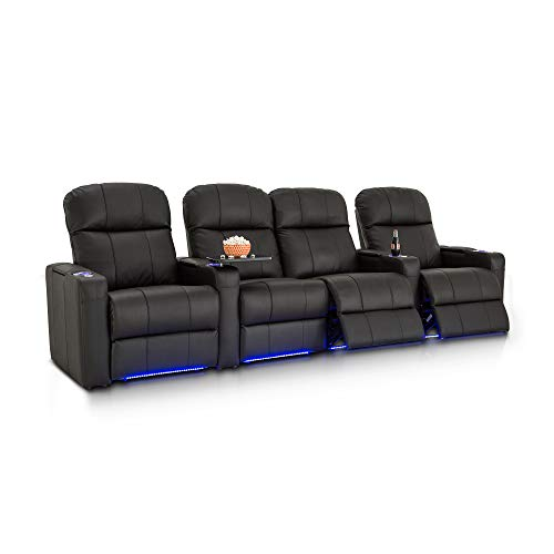Seatcraft Venetian Leather Home Theater Seating - Power Recline (Row of 4 with Middle Loveseat, Black)