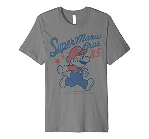 Nintendo Super Mario Bros '85 Vintage Stars Premium T-Shirt (Nintendo Wii Limited Edition Blue Console $99-96)
