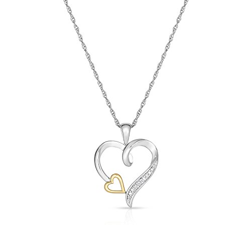 10k Yellow Gold Two Tone Diamond Heart Pendant - 2 Tone Diamond Heart