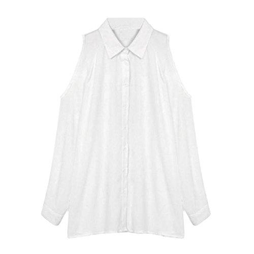 Tongshi Mujeres flojo del hombro de manga larga camisa de la gasa remata la blusa blanco