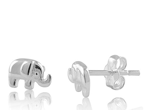Sterling Silver Small Elephant Stud Earrings 8mm by SilverCloseOut