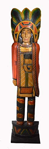 - 5 Foot Tall Giant Hand Carved Wooden Cigar Indian Statue #13 Sculpture Carving Chief Cowboy Western Art