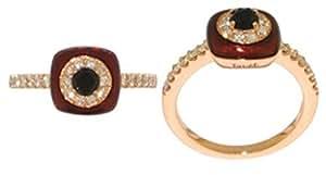 Tsvet18 Kt Rose Gold Plated Brown Enamel & American Diamond Ring [Trn023]