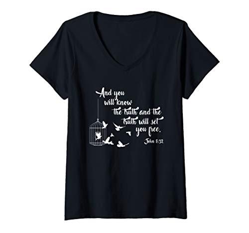 Womens Christian Bible Bird Cage Truth Shall Set You Free Birds V-Neck T-Shirt