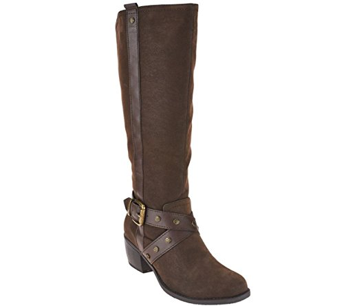 Avery Ankle Strap (Kensie Tall Shaft Boots Cross Ankle Strap Zip Buckle Avery Brown 10M # A266654)