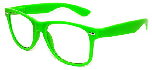 Stylish Fashion Vintage Sunglasses Retro 80's Green Frame with Clear Lens - Glasses Neon