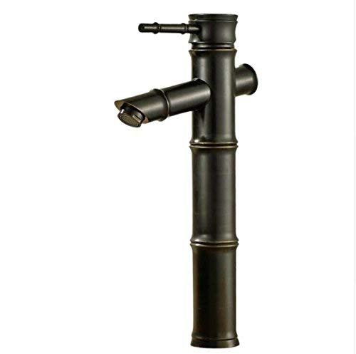 A Oudan Basin Faucets Brass Oil Rubbed Bronze Bambool Bathroom Sink Faucet Deck Bathbasin Retro Black Mixer Water Tap B517,A (color   A, Size   -)