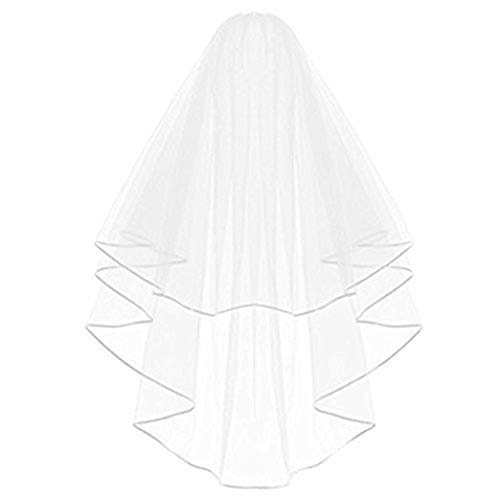 Echodo Bridal Wedding Veil White Double Ribbon Edge Center Cascade Bridal Veil with Comb Wedding Accessories -