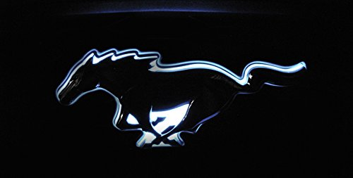 (LED Light Up Red White or Blue Pony Emblem Rear Deck Lid Trunk Fender Compatible with 2015-2016 Ford Mustang ... (White))