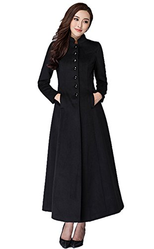 Chickle Women's Stand Collar Single Breasted Walker Long Wool Dress Coat M Black