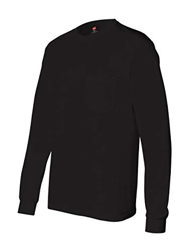 Hanes Men's Tagless Long Sleeve T-Shirt with a Pocket - X-Large - Black